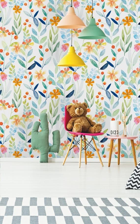Removable Wallpaper Self Adhesive Wallpaper Watercolor Floral Etsy Removable Wallpaper Peel And Stick Wallpaper Wallpaper Roll