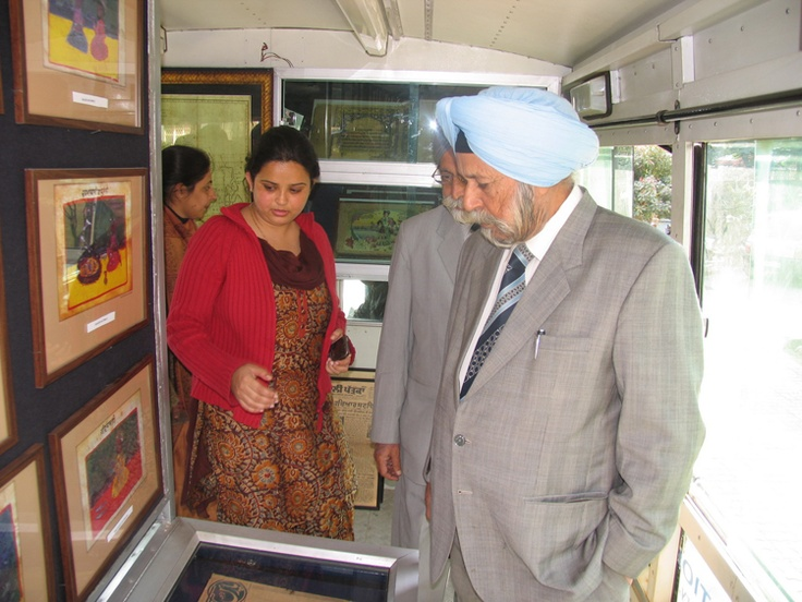 Mr. DS Bedi visiting a mobile exhibition