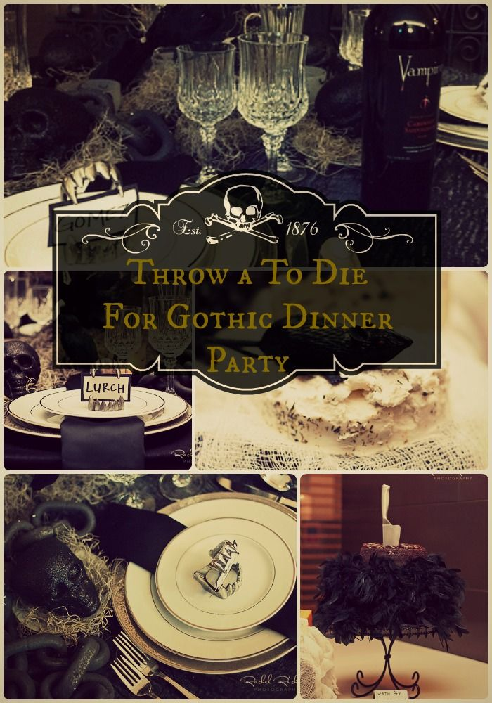 Gothic dinner party- rats in the cheese, knife in the cake with feather boa