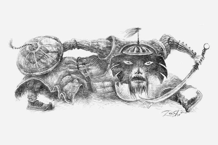 Даши Намдаков — Из серии «Монгол» (2006) Бумага, уголь 114 x 236