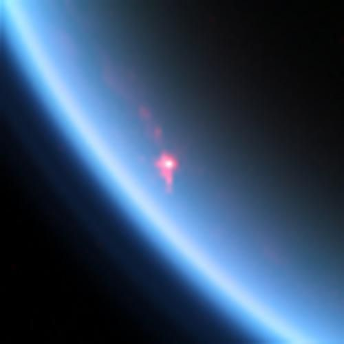 This near-infrared color image shows a specular reflection, or sunglint, off of a hydrocarbon lake named Kivu Lacus on Saturn's moon Titan.