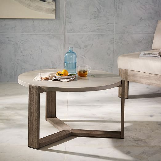 Mosaic Coffee Table - Solid Concrete Top + Driftwood Base