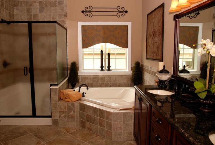 picturesque-corner-white-whirlpool-tub-and-glass-shower-room-also-large-bathroom-vanity-with-black-countertop-and-double-white-basin-also-large-mirror.jpg (945×637)