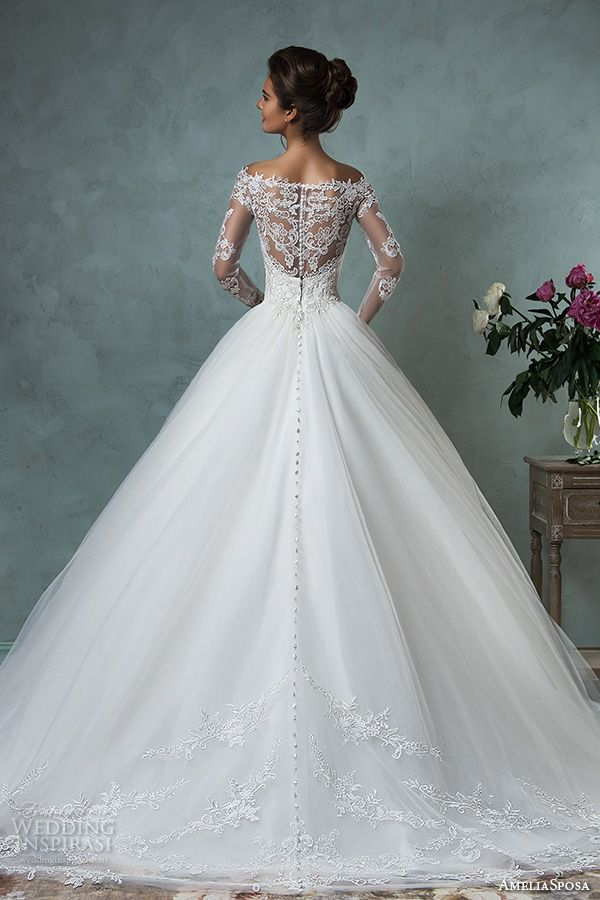 amelia sposa 2016 wedding dresses off the shoulder lace long sleeves embroidered bodice gorgeous a line ball gown wedding dress nova back