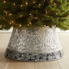 """Embossed & Mosaic Tree Collar - Color: Silver/black - 21""""Dia x 10""""H - Iron, glass - Clean with a soft, dry cloth Exclusively Pier 1 Imports $125 on sale $100 online only 12/3/2016"""
