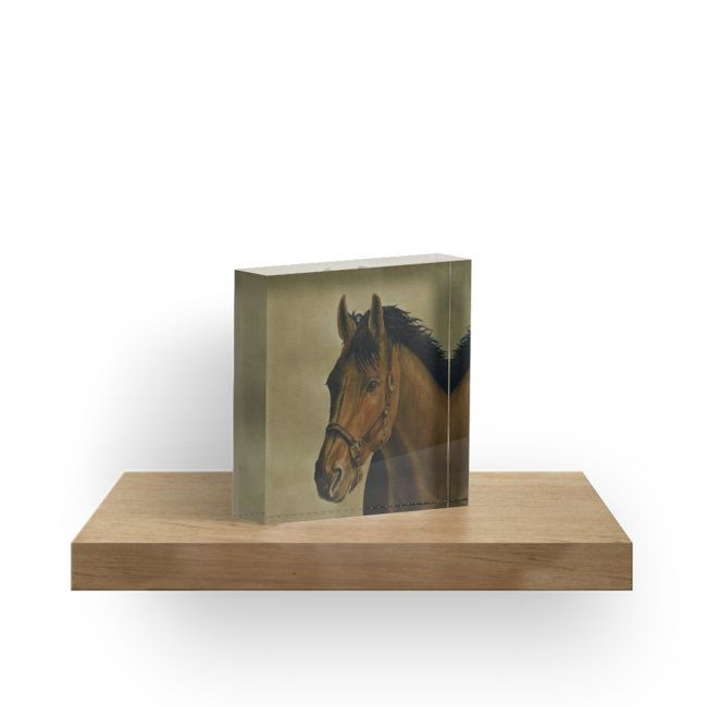 acrylic block, home,office, accessories,decor,items,cool,beautiful,fancy,unique,trendy,artistic,awesome,fahionable,unusual,gifts,presents,for sale,design,ideas,earthly colors,brown,dark,orange,horse,portrait,wildlife,animal,equine,head,redbubble