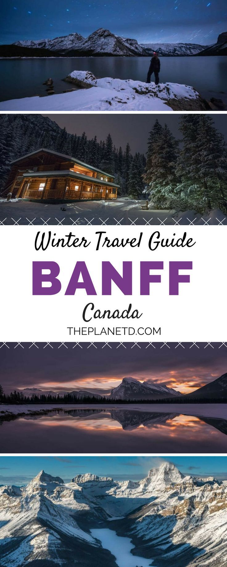 A complete guide to exploring Banff National Park during winter. Best things to do including snowboarding and skiing, photography tours, dog sledding, skating and more. Winter travel in Alberta, Canada.   Blog by the Planet D #Banff #Canada