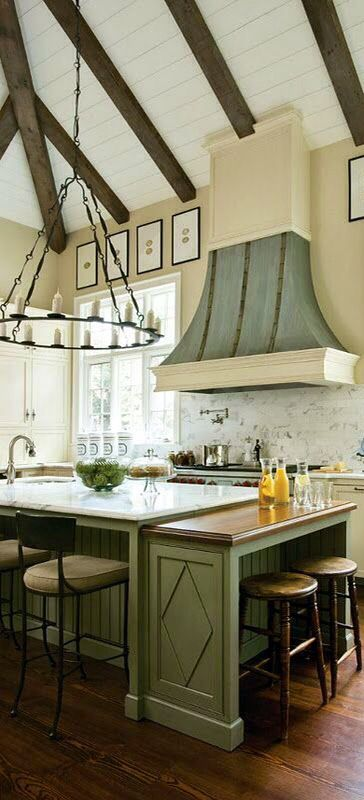 Beautiful French Country Kitchen, large island, beamed ceiling, unique hood & chandelier,,, design ideas and decor