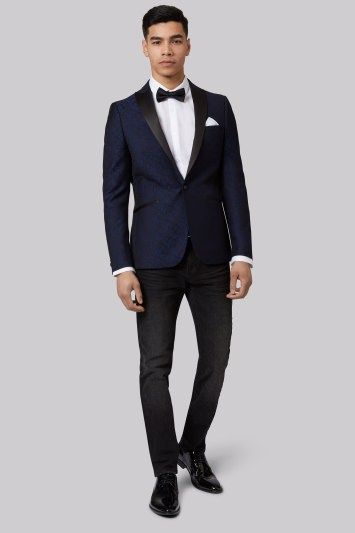 Moss London Skinny Fit Navy Floral Jacquard Tuxedo Jacket