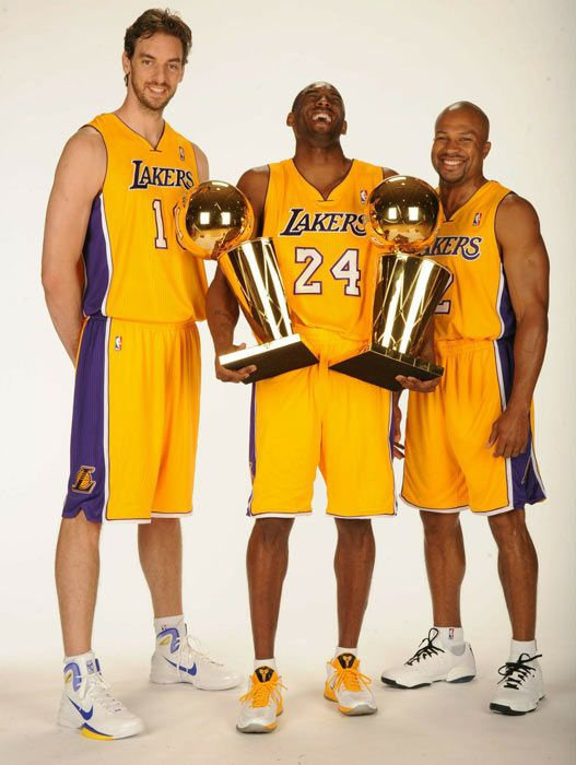 Pau Gasol, Kobe Bryant and and Derek Fisher 2010. Good times!!!! We need DFish back in LA