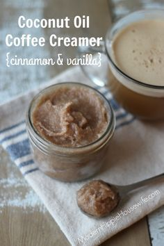 Coconut Oil Coffee Creamer with cinnamon and vanilla! Just two scoops, a cup of your favorite, fair-trade coffee and a blender, and you're on your way to the best coffee you've every tasted! - Modern Hippie Housewife