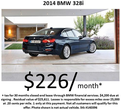 $226/month on a 2014 #BMW 328i! Offer Expires : 10/31/2014 !
