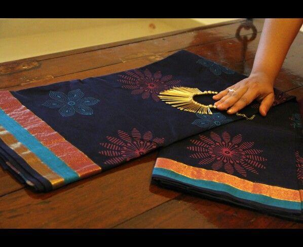 Cotton saree with big floral block prints