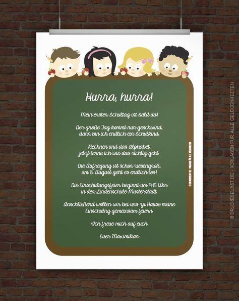 Einladung Zur Einschulung Kostenlos Gestalten Und Selbst Ausdrucken.  Einfach Einladungstext Personalisieren, PDF Druckvorlage Kostenlos  Herunterladen Und ...