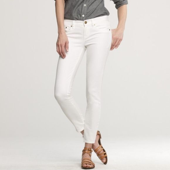 J. Crew | Toothpick ankle jeans These white jeans are a classic! I wore them a couple times on a European trip but they don't fit anymore. The only flaw is a tiny pen mark depicted in the close-up photo (#3). Otherwise they're in great condition. Found the cover photo online to show the fit but all other photos depict the actual jeans in my closet! J. Crew Jeans Ankle & Cropped