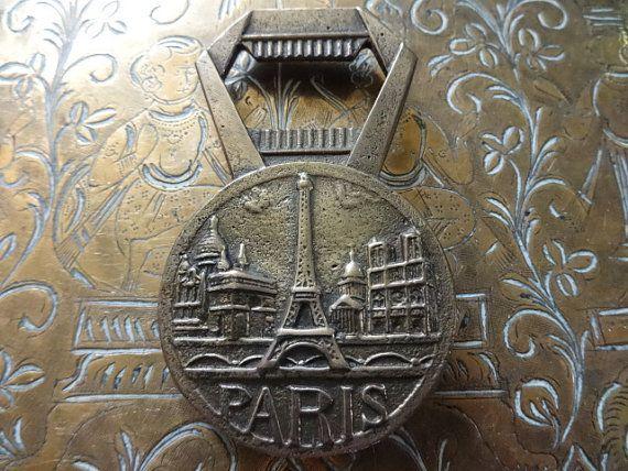 250 kr. Vintage French Brass Paris Napoleon Eiffel Tower by EnglishShop