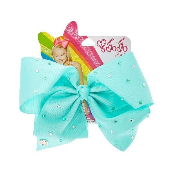 JoJo Siwa Large Rhinestone Mint Signature Hair Bow | Claire's ($17) ❤ liked on Polyvore featuring accessories, hair accessories, rhinestone hair accessories, bow hair accessories and rhinestone hair bows