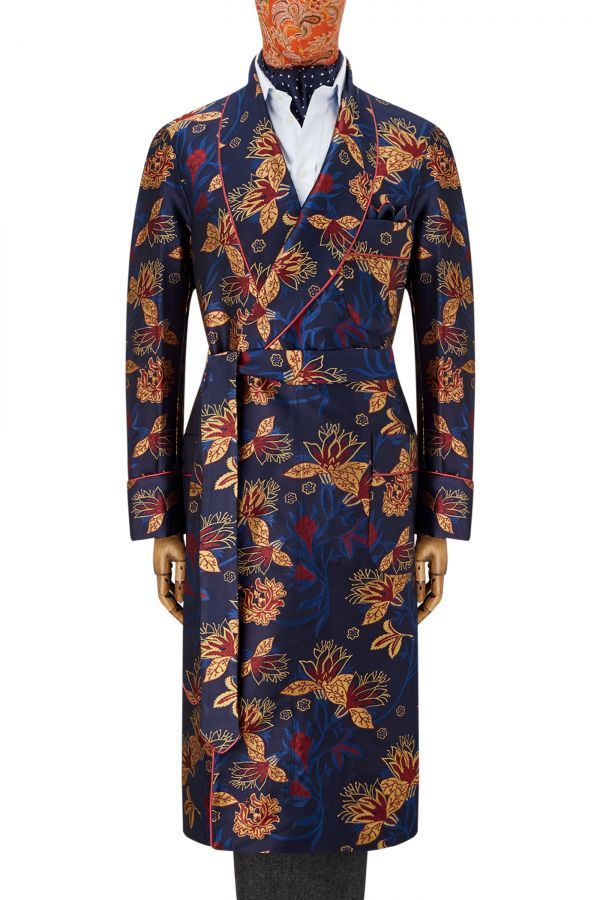 e20b6c5115 NEW   LINGWOOD Navy Floral Jacquard Unlined Silk Dressing Gown ...