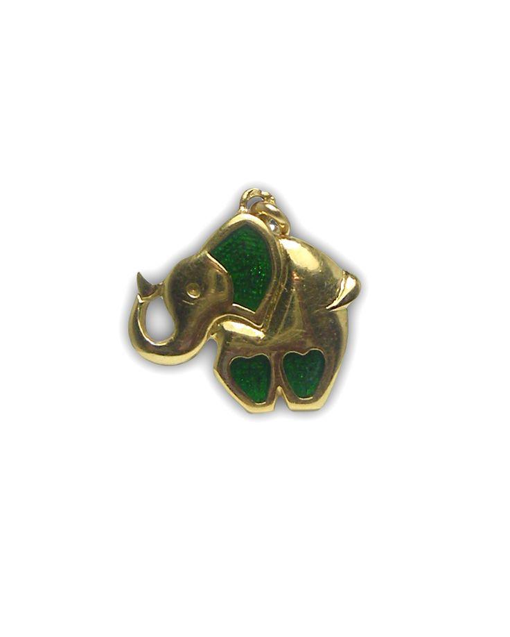 Pendentif en or jaune 750 millièmes motif coeur sur les pattes et l'oreille en émail verte poids total : 3,80 grs
