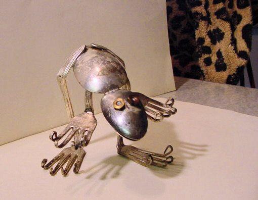 sculpture silverware art Frog No 1 flatware by HouseOfPhlegethon