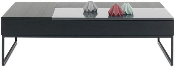 Chiva functional coffee table with storage, the product is available in different colours. As shown, black-stained oak veneer/charcoal gray glass/matte black structure lacquer. H12¾/17½xW44¾/53¼xD31½/40 - a little deep