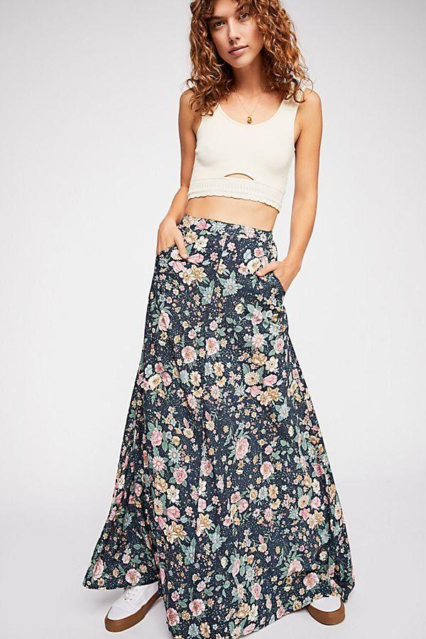 751c982e8d Spring Rose Wylde Maxi Skirt - Blue Floral Maxi Skirt - Floral Maxi Skirts  - Blue Maxi Skirts - Boho Maxi Skirts - Free People Maxi Skirts