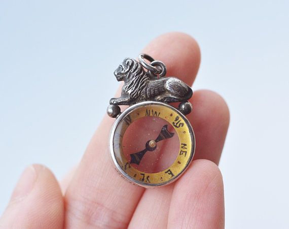 ANTIQUE Rare See Throo Lion Compass Pendant Sterling Silver