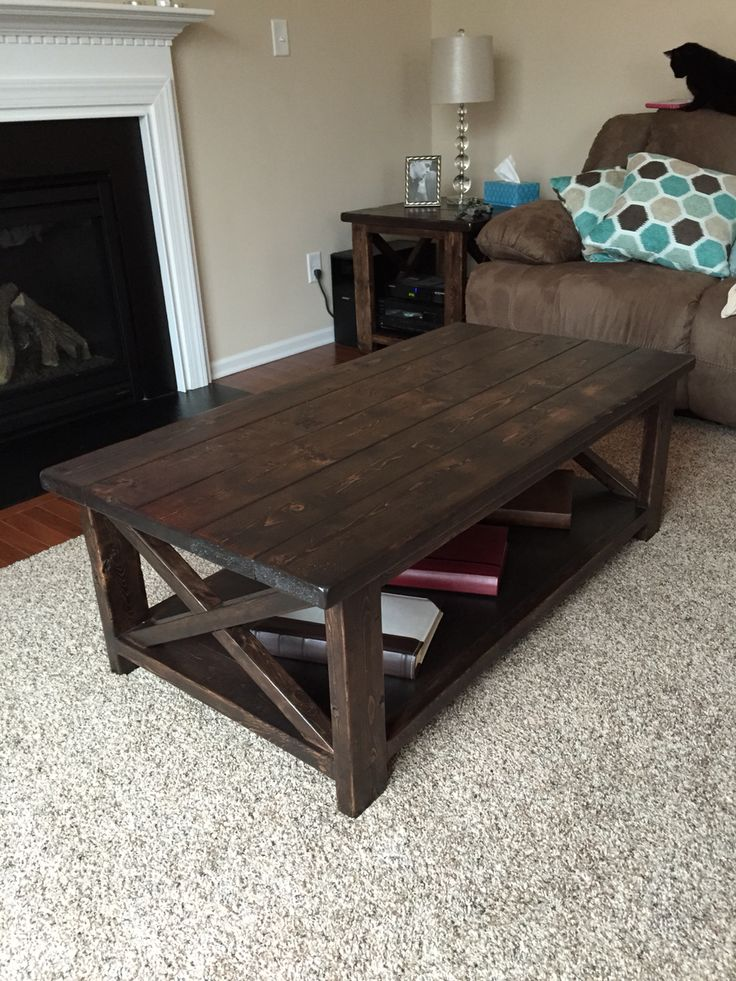 Rustic X coffee table built from Ana White plans. Assembled using Kreg Pocket Screw Jig ...