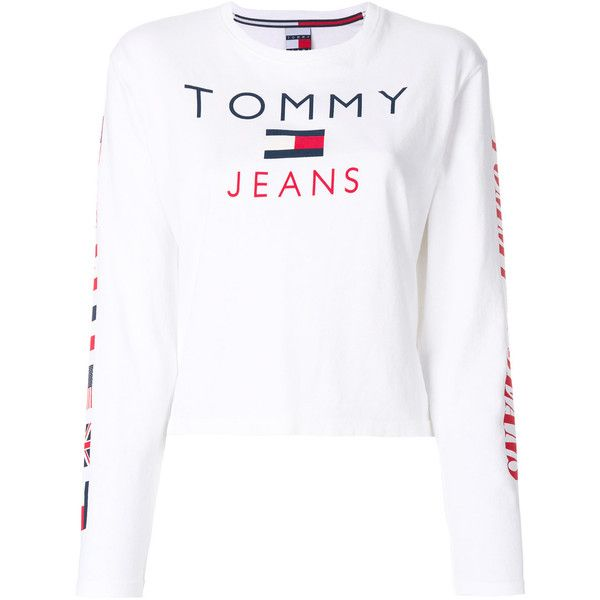 Tommy Jeans Flag Print Longsleeved T Shirt 64 Liked On Polyvore Featuring Tops T Shir White Long Sleeve Tee Long Sleeve Cotton Tops White Cotton T Shirts