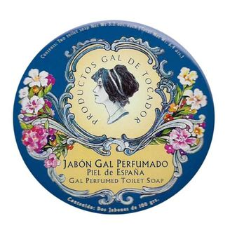 Authentic and discontinued vintage Gal perfumed toilet soaps by Perfumería Gal Madrid for those who like collectibles. Piel de España (sensual) fragrance.  Condition: New. Cute vintage retro tin with beautiful illustrations.  Content: 2 soaps 100g wrapped in silk paper.  Not tested on animals