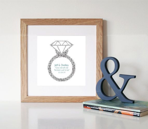 PERSONALISED Engagement Gift Printable Art by WordlyDesigns