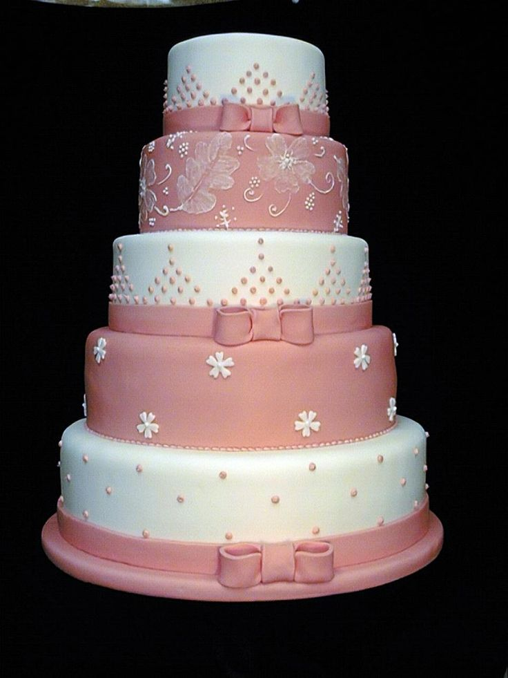Pink and white cake, perfect for a spring wedding... #yannpins