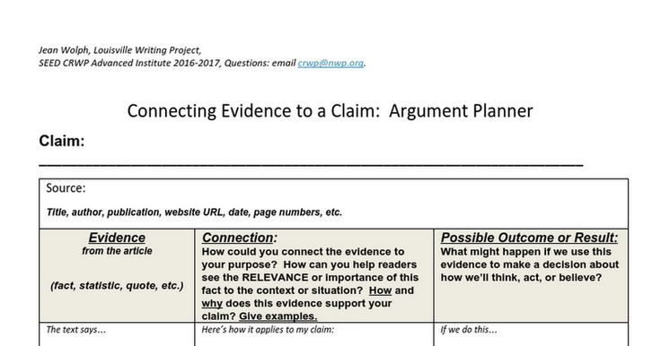 Connecting Evidence to a Claim:  Argument Planner Claim:  _______________________________________________________________________ Source:  Title, author, publication, website URL, date, page numbers, etc.   Evidence from the article  (fact, statistic, quote, etc.)    Connection:   How co...