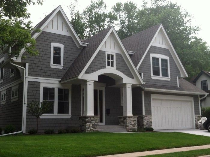Houses grey stucco white trim rock google search home - House paint colors exterior photos ...