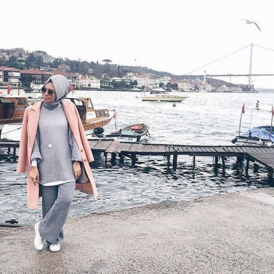 pink coat winter hijab