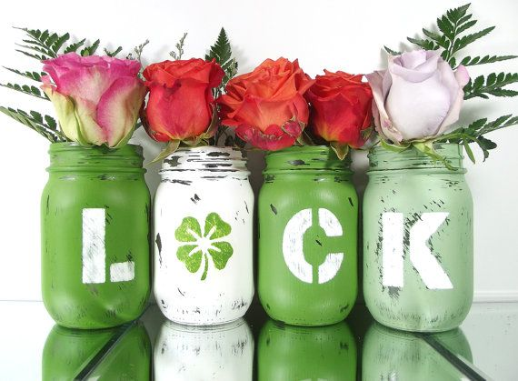 St Patricks Day Party Decoration Green Mason Jars by curiouscarrie