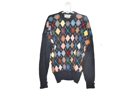 Mens Vintage Merino Wool Sweater Geometric Colorful Pullover