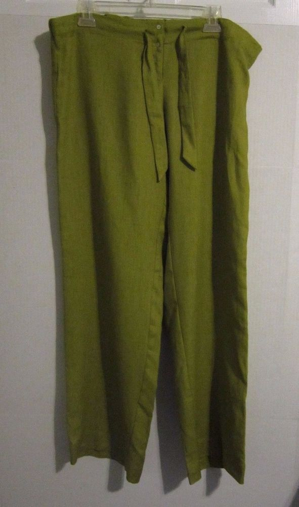 "FlatIron Workshop Linen Pants Womens Size 16 (38"" WAIST) Drawstring Button Front #FlatironWorkshopNYC #Linen"