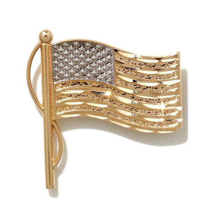Michael Anthony Jewelry® 10K 2-Tone American Flag Pin