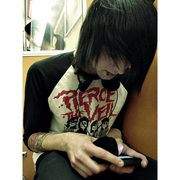 cute scene boy and a cat Emo boys ❤ liked on Polyvore featuring people
