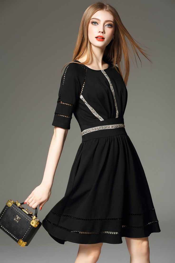 To be your own VIP! Round Neck Beaded Hollow Slim Dress