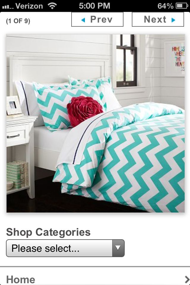 Cute Idea for a teen bedroom, Pottery Barn Teen. caroline likes the bed spread. both girls like the colors.