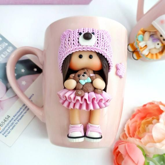 Decorated Personalized mug Polymer clay fimo Handmade decor pink porcelain cup Tilda Art doll Poup