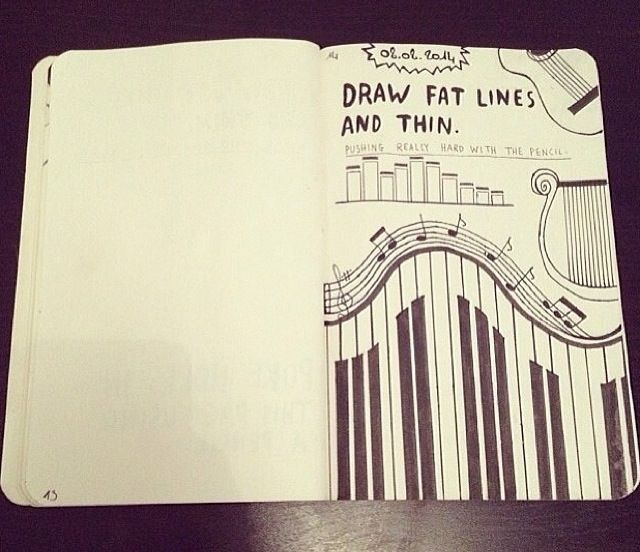 """Draw fat lines and thin lines"": piano keys, barcode, tribal pattern, bricks, wood slats, mini blinds, etc..."