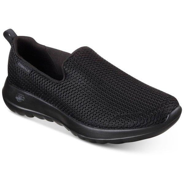 Skechers Women's GOwalk Joy Casual Walking Sneakers from Finish Line (2,385 DOP) ❤ liked on Polyvore featuring shoes, sneakers, black, black trainers, skechers sneakers, kohl shoes, black walking sneakers and skechers