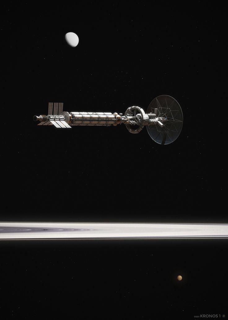 Kronos 1 over Saturn\'s Rings (1/2) by Maciej Rebisz | Sci-Fi | 3D | CGSociety
