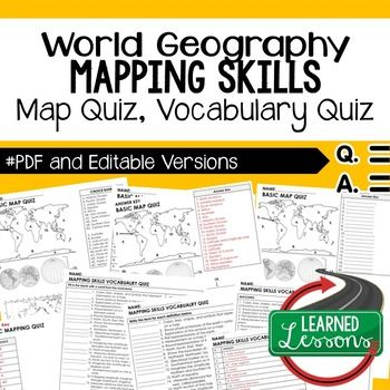 Mapping Skills Map Quiz, Mapping Skills Vocabulary Quiz Geography Assessment