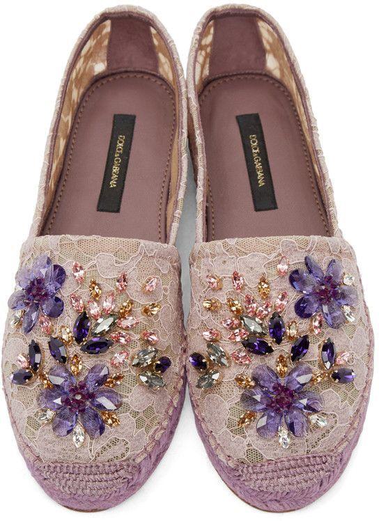 Dolce & Gabbana | Purple Embellished Lace Espadrilles | Accessories | Shoes