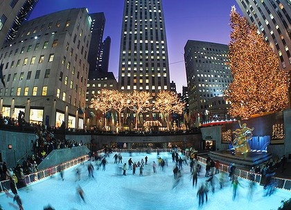 I want a white christmas ! ice rink at Rockefeller Center, New York City.