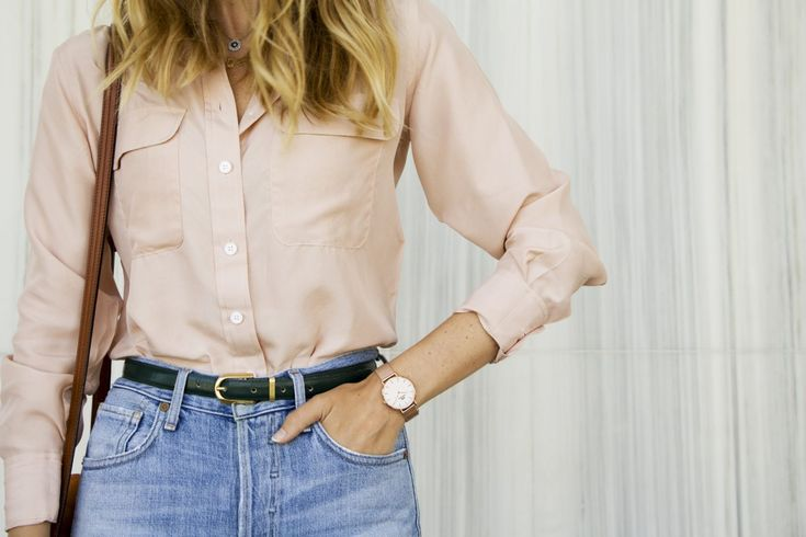 Washed Silk Button Down With Denim and Daniel Wellington Petite Melrose